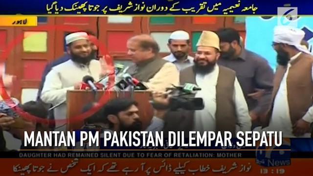 Mantan PM Pakistan Nawaz Sharif mendapat serangan tak terduga dari seorang tak dikenal.