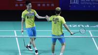 Ganda putra Indonesia, Kevin Sanjaya Sukamuljo/Marcus Fernaldi Gideon, berhasil lolos ke perempat final Fuzhou China Terbuka 2019, setelah menang 16-21, 21-11, 21-16 atas He Ji Ting/Tan Qiang, Kamis (7/11/2019). (dok. PBSI)