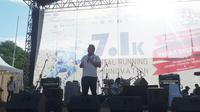 Menkominfo Rudiantara saat memberi sambutan di acara Digital Running For Innovation di GBK Senayan, Jakarta, Minggu (30/10/2016).
