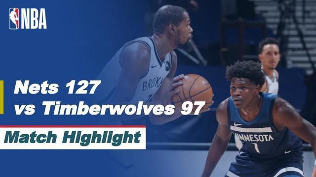 Berita video highlight NBA, Brooklyn Nets raih kemenangan saat bertamu ke Kandang Minnesota Timberwolves 127-97, Rabu (14/4/2021).