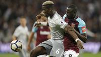 Paul Pogba gagal mengantarkan Manchester United meraih kemenangan atas West Ham United pada pekan ke-37 Premier League di London Stadium, Jumat (11/5/2018) dini hari WIB. (AP Photo/Alastair Grant)