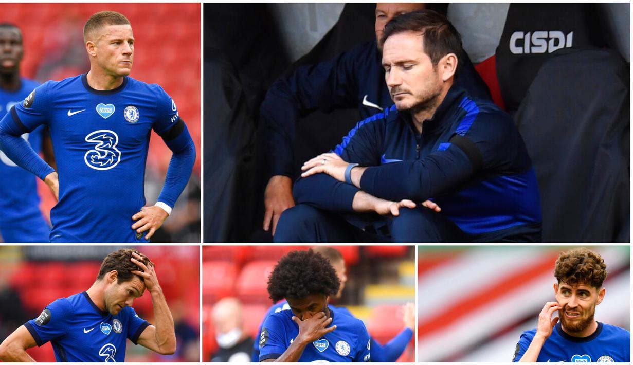 Para penggawa Chelsea tak mampu menutupi kekecewaan usai dikalahkan Sheffield United pada laga Premier League. The Blues takluk tiga gol tanpa balas.