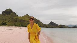 Pesona Pevita Pearce juga nampak sempurna dengan busana-busana yang ia kenakan saat liburan. Pevita selalu nampak modis di tiap liburannya. (Liputan6.com/IG/@pevpearce)