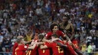 Belgia meraih kemenangan 3-2 atas Jepang pada 16 besar Piala Dunia, di Stadion Rostov Arena, Rostov On-Don, Selasa (3/7/2018) dini hari WIB. (AP/Rebecca Blackwell)