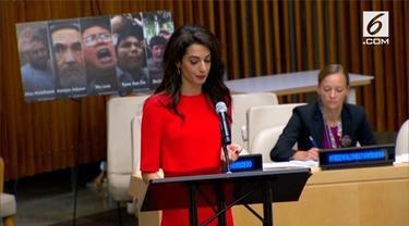 Sebagai pengacara HAM, Amal Clooney, berbicara di depan PBB untuk membela 2 jurnalis yang dipenjara di Myanmar.