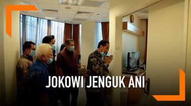 Presiden ke-6 RI Susilo Bambang Yudhoyono menjelaskan kondisi Ani Yudhoyono saat dijenguk Presiden Jokowi dan Iriana Jokowi.