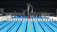 Tokyo Aquatics Centre merupakan venue yang baru saja dibangun di Taman Tepi Laut Tatsumi-no-Mori. Pada Olimpiade kali ini, tempat ini akan digunakan untuk cabang olah raga renang, menyelam, dan renang artistik. (Foto: AFP/Philip Fong)
