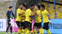Para pemain Malaysia saat merayakan gol ke gawang Laos pada laga kedua Grup A Piala AFF 2018. (AFF Suzuki Cup)