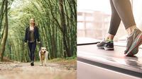 Berjalan di luar ruangan vs berjalan di treadmill (Sumber: gambar kiri: Freepik/prostooleh & gambar kanan: Freepik/master1305)