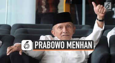 Ketua Dewan Kehormatan PAN, Amien Rais angkat bicara soal Prabowo Subianto yang menjadi Menter Pertahanan. Amien mengatakan ia tidak merestui dan tidak menolak Prabowo masuk ke kabinet Jokowi.