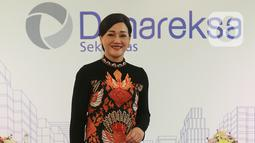 Dirut PT Danareksa Sekuritas (DS) Friderica Widyasari didampingi jajaran direksi memberi keterangan pers mengenai kinerja perusahaan dan perkenalan manajemen baru di Jakarta, Senin (2/3/2020). BRI mengakuisisi 67% DS pada akhir 2018 sebesar 67%. (Liputan6.com/Fery Pradolo)