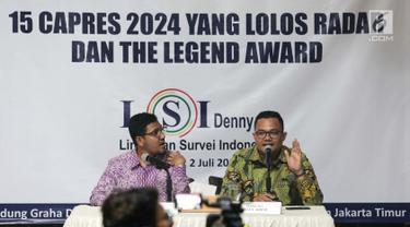 Peneliti LSI Denny JA, Rully Akbar (kanan) memaparkan survei terkini bertajuk '15 Capres 2024 yang Lolos Radar dan the Legend Award' di Kantor LSI, Jakarta, Selasa (2/7/2019). LSI Denny JA merilis 15 nama yang patut digadang kuat maju sebagai calon presiden 2024. (Liputan6.com/Faizal Fanani)