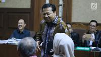 Setya Novanto bersiap menjadi saksi pada sidang dugaan merintangi penyidikan korupsi e-KTP dengan terdakwa Fredrich Yunadi di Pengadilan Tipikor, Jakarta, Kamis (3/5). Sidang mendengar keterangan saksi. (Liputan6.com/Helmi Fithriansyah)