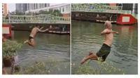 Beberapa orang turis renang di Sungai Malaka yang tercemar, aksinya viral di medsos. (Sumber: World of Buzz)