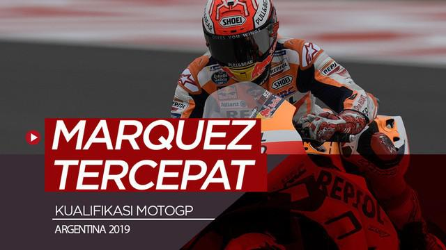 Berita video hasil kualifikasi MotoGP Argentina 2019 di mana Marc Marquez menjadi yang tercepat dan meraih pole position. Sementara itu, Valentino Rossi menempati posisi keempat start.