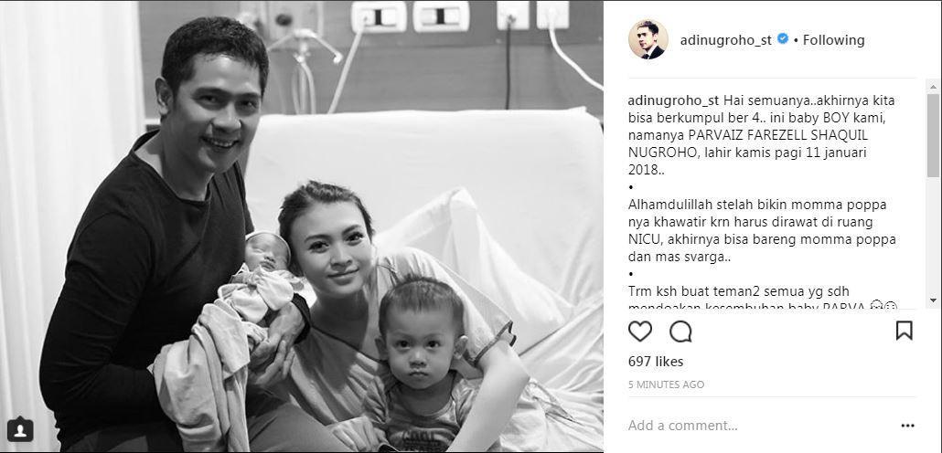 Donita dan suami, Adi Nugroho umumkan nama anak kedua (Foto: Instagram)