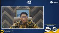 Direktur Utama KAI Didiek Hartantyo dalam Launching Fitur First Mile dan Last Mile Bluebird pada Aplikasi KAI Access, secara virtual, Senin (30/8/2021).