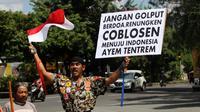 Kopral Besar Bagyo serukan kepada warga untuk anti golput pada Pilpres 2019.(Liputan6.com/Fajar Abrori)