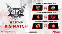 Jadwal dan Live Streaming MPL ID Season 8 di Vidio Pekan Keenam, 17 Hingga 19 September 2021. (Sumber : dok. vidio.com)