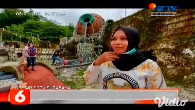 Wahana baru air gentong raksasa di Wisata Setigi Sekapuk, Gresik, Jawa Timur, langsung diserbu ratusan pengunjung di sisa liburan awal tahun. Bagi pengunjung luar kota wajib menjalani rapid test.