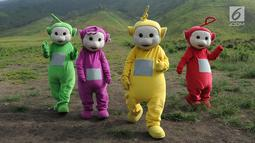 Warga berkostum teletubbies berjalan menghibur wisatawan di Bukit Teletubies kawasan Taman Nasional Bromo Tengger Semeru (TNBTS), Jawa Timur, Selasa (26/3). Dalam sehari masing-masing mendapatkan rata-rata Rp 50 ribu dengan foto bersama wisatawan. (merdeka.com/Arie Basuki)