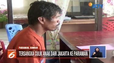 Seorang penculik anak ditangkap aparat Polres Pariaman, Sumatra Barat. Pelaku membawa kabur korban dari Jakarta ke Pariaman.