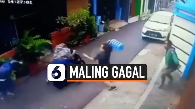 TEREKAM CCTV, MALING MOTOR GAGAL KABUR GARA-GARA GALON AIR