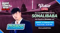 Live streaming mabar GTA V Online bersama Sonalibaba, Minggu (14/2/2021) pukul 19.00 WIB dapat disaksikan melalui platform Vidio. (Dok. Vidio)