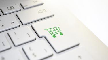 Ilustrasi belanja online, ecommerce, e-commerce, toko online