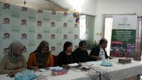 Sejumlah LSM pemerhati isu buruh migran menggelar konferensi pers di Kantor Migrant Care di Jakarta (19/3) seputar eksekusi mati TKI Zaini Misrin di Arab Saudi pada 18 Maret 2018 (Rizki Akbar Hasan/Liputan6.com)