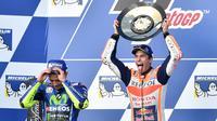 Bahkan mantan pebalap Itali Loris Reggiani menyebutkan bahwa cedera yang dialami Marc Marquez saat ini merupakan karma lantaran telah menggagalkan The Doctor jadi juara dunia MotoGP 2015. (Foto: AFP/Paul Crock)