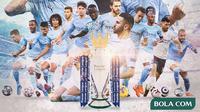 Premier League - Ilustrasi Juara Manchester City Musim 2020/2021 (Bola.com/Adreanus Titus)