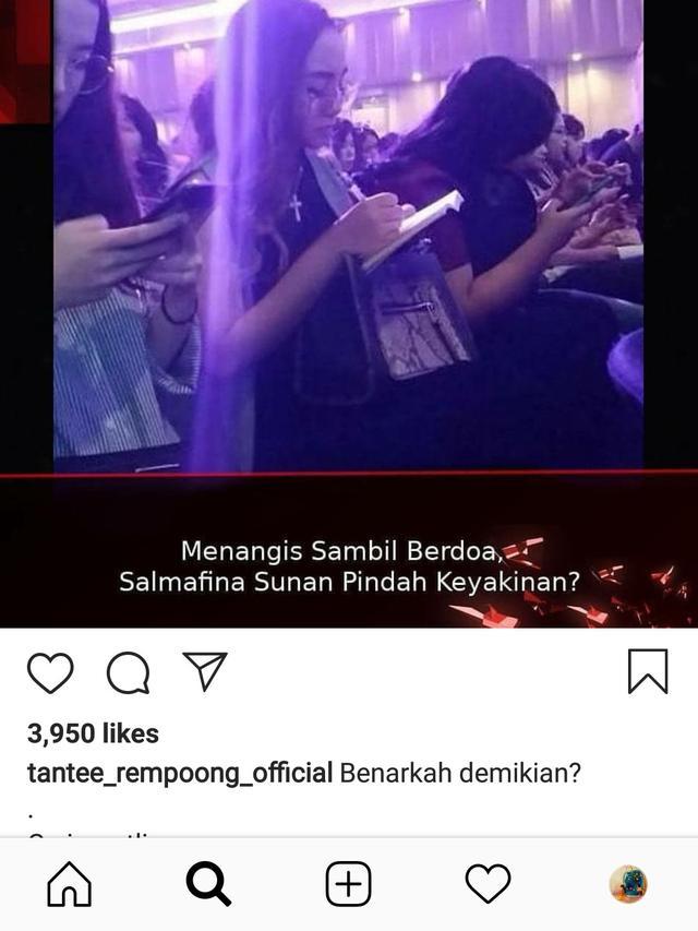 kabar Salmafina Sunan pindah keyakinan diunggah akun gosip (@tantee_rempoong_official)
