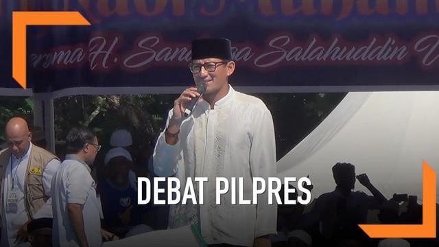 Cawapres Prabowo, Sandiaga Uno tidak menyetujui rencana KPU yang akan menambah jumlah tamu undangan yang hadir dalam debat Pilpres ke-5. Sandi menilai debat bukanlah eforia dari pendukung masing-masing Capres dan Cawapres