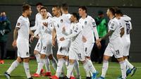 Timnas Italia menang dua gol tanpa balas atas Lithuania pada laga ketiga Grup C kualifikasi Piala Dunia 2022 di LFF Stadium, Kamis (1/4/2021) dini hari WIB. (AP Photo/Mindaugas Kulbis)