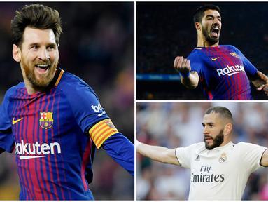 Berikut ini daftar top scorer La Liga 2019. Lionel Messi di posisi teratas dengan koleksi 34 gol. (Foto Kolase AP dan AFP)