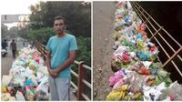 Pria ini berdiri di jembatan seharian agar tak ada yang buang sampah sembarangan. (Sumber: Twitter/@swethaboddu)
