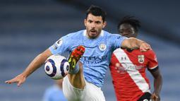 Sergio Aguero. Striker Timnas Argentina ini telah mencetak 18 hattrick dengan rincian: 16 untuk Manchester City, 1 untuk Atletico Madrid dan 1 untuk Timnas Argentina. (AFP/Gareth Copley/Pool)