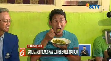 Sandiaga Uno mengatakan potensi bubur manado go internasional sangat mungkin bila dirinya terpilih.