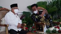 Wakil Presiden RI, KH Maruf Amin bersama Menteri Pertanian RI, Syahrul Yasin Limpo dalam acara Penganugerahan Penghargaan Bidang Pertanian Tahun 2021 yang diselenggarakan secara luring di Istana Wapres Jakarta, Senin, 13 September 2021.