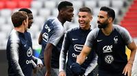 Para pemain Prancis melakukan sesi latihan jelang laga UEFA Nations League di Munich, Jerman, Rabu (5/9/2018). Prancis akan berhadapan dengan Jerman. (AFP/Franck Fife)