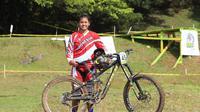 Pebalap Sepeda Indonesia, Tiara andini prastika sukses meraih emas ketiga untuk Indonesia cabang mountain Bike, Senin (20/8/2018)