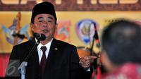 Ketua DPR, Ade Komaruddin memberikan sambutan di acara Syukuran Panitia Piala Presiden 2015, Jakarta, Senin (18/1/2016). (Liputan6.com/Yoppy Renato)