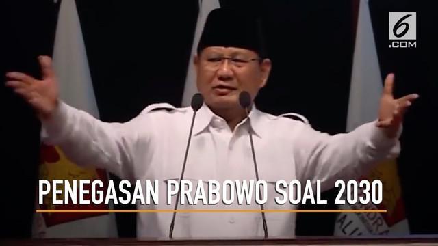 Ketua Umum Gerindra, Prabowo Subianto menegaskan, pernyataan soal Indonesia tidak ada lagi di tahun 2030 didasarkan scenario writting pihak asing.