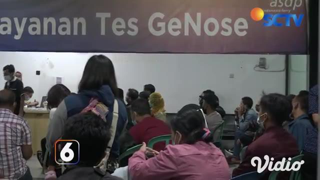 Ruang tes cepat Covid-19 di Pelabuhan Ketapang, Banyuwangi, dipadati pemudik, para pemudik ini lebih memilih tes GeNose dibandingkan rapid antigen, dikarenakan harganya lebih terjangkau, yakni Rp 40 ribu.