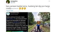 Seorang istri baru mengetahui harga sepeda suaminya usai ada menteri kecelakaan. Sumber: Twitter/theborneoghost.