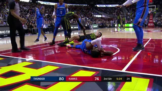 Berita video game recap NBA 2017-2018 antara Oklahoma City Thunder melawan Atalanta Hawks dengan skor 119-107.