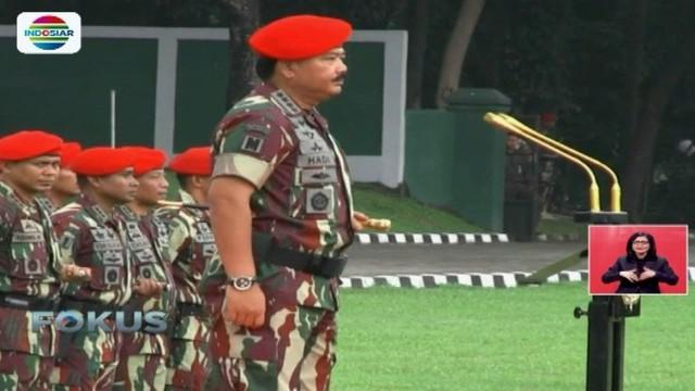 Dalam sambutannya, Panglima TNI Hadi Tjahjanto menegaskan akan melakukan evaluasi tunjangan kesejahteraan bagi prajurit.