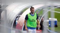 Pelatih Real Madrid, Zinedine Zidane, kesal dengan pertanyaan seputar masa depan Gareth Bale. (AFP/Pierre-Philippe Marcou)