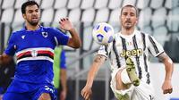 Pemain Sampdoria Mehdi Leris (kiri) berebut bola dengan pemain Juventus Leonardo Bonucci pada pertandingan Serie A di Stadion Allianz, Turin, Italia, Minggu (20/9/2020). Juventus menaklukkan Sampdoria dengan skor 3-0.  (Marco Alpozzi/LaPresse via AP)